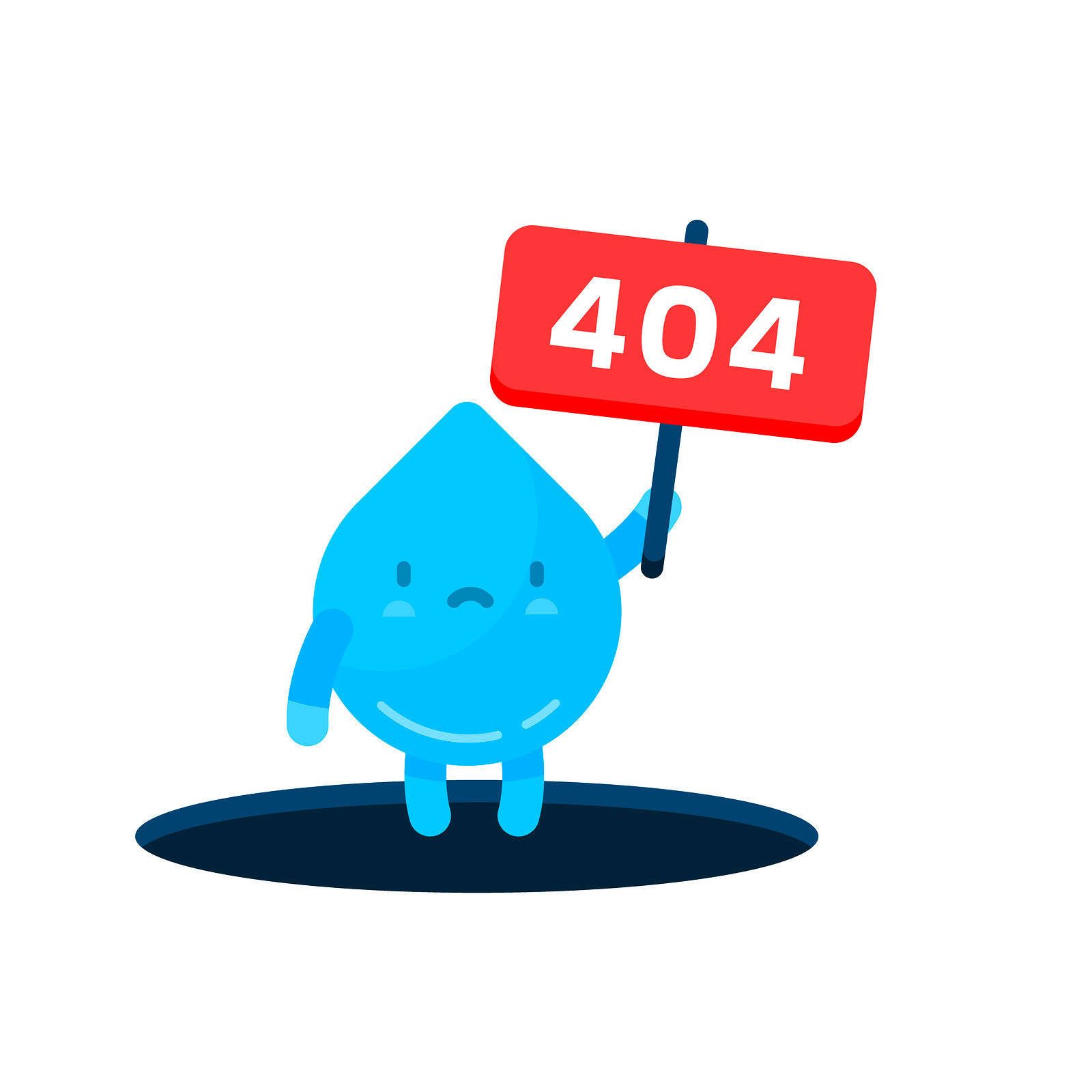 A frowning raindrop carrying a sign that says 404